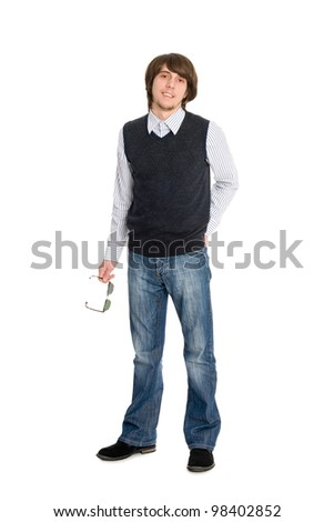 Smiling young man in full length - stock photo
