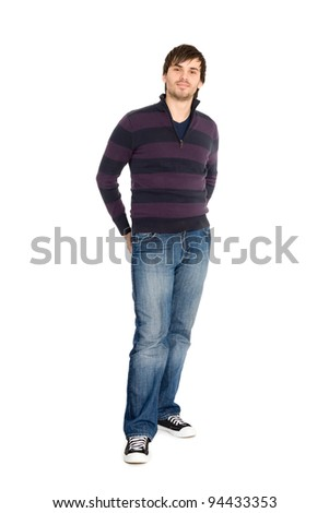 Smiling young man in full length isolated on white background. - stock photo