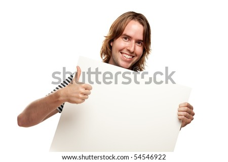 Smiling Young Man with Thumbs Up Holding Blank White Sign Isolated on a White Background. - stock photo