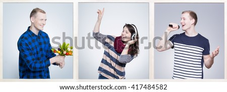 Smiling young people with passion to music. Woman listening music on headphones and man singing song to microphone