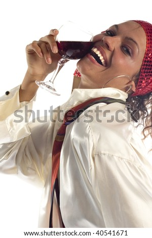Smiling young woman and glass of red wine - stock photo