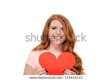 smiling young woman and red heart card copyspace valentines day love isolated