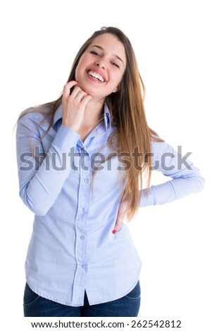 Smiling young woman cute portrait. Natural candid adorable smile on white background. - stock photo