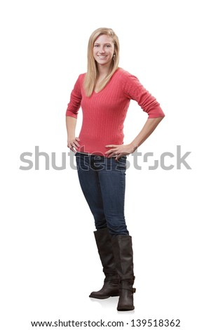 Smiling young woman full length standing isolated - stock photo