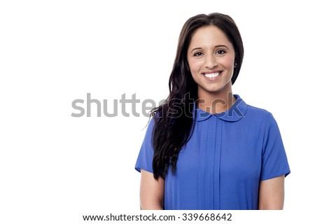 Smiling young woman isolated on white - stock photo