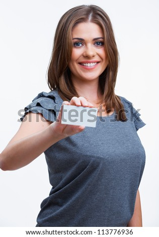 Smiling young  woman showing blank signboard, over white background isolated