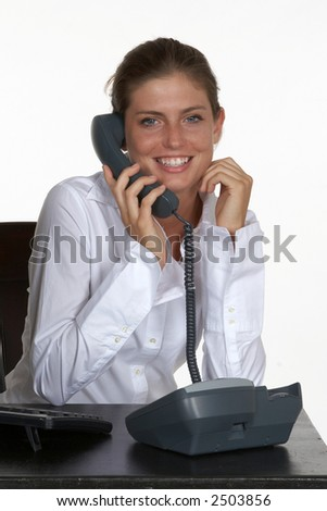 Smiling Young Woman Talking on Phone - stock photo