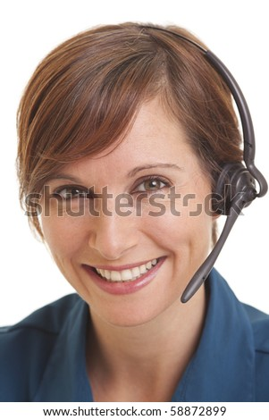 Smiling young woman telemarketer - stock photo