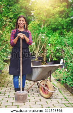 Smiling young woman transplanting nursery stock standing with a potted plant in a wheelbarrow in the greenhouse leaning on a spade and smiling at the camera - stock photo
