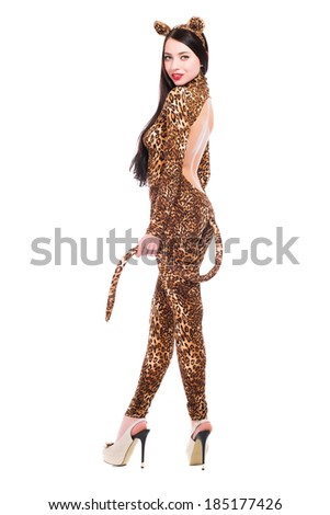 Smiling young woman wearing like a leopard. Isolated on white - stock photo