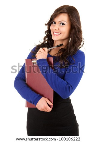 smiling young woman with clipboard and pen, white background