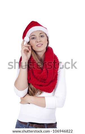 smiling young woman with red christmas hat and scarf isolated
