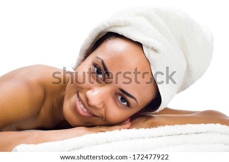 smiling young women relaxing in the spa salon - stock photo