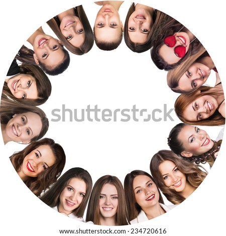 Smilling frame. Group of young happy women. Isolated