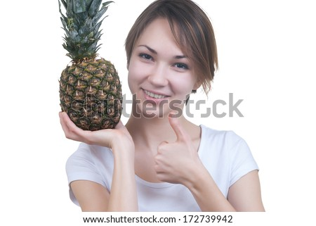 smilling girl with pinaple showing ok isolated on white - stock photo