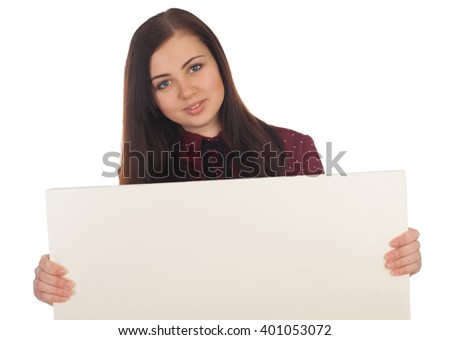 Smilling woman is holding in her hands a white canvas