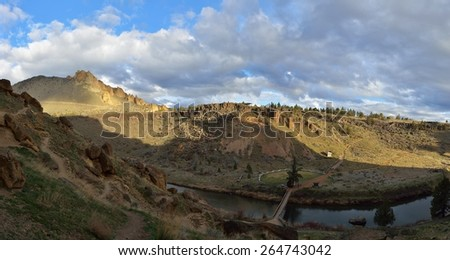 Smith Rock State Park, Central Oregon, USA - stock photo