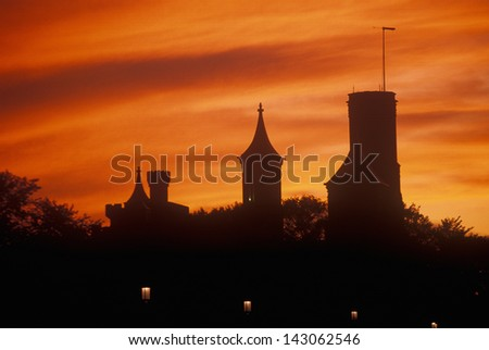 Smithsonian Museum at sunset, Washington, DC - stock photo