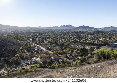 Smog free suburban Newbury Park and Thousand Oaks near Los Angeles, California. - stock photo