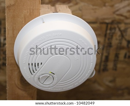 Smoke Alarm in New Construction - stock photo