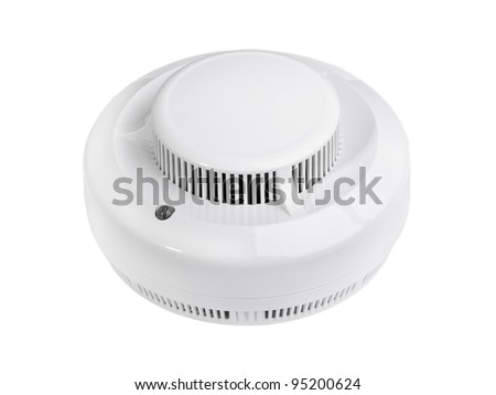 Smoke alarm isolated on white - stock photo