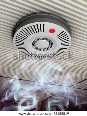 Smoke and fire detector Illustration of a smoke and fire detector in rising smoke at a gray ceiling - stock photo