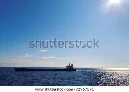 Smoke big ship above sea in a morning. - stock photo