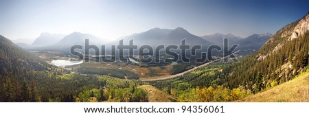 Smoke can be seen from burning forest fires, Cory Pass Hike, Near Banff, Banff National Park, Alberta, Canada. Cory pass is 4-5 hour loop return to Car, a steep hike, with one tricky spot. - stock photo