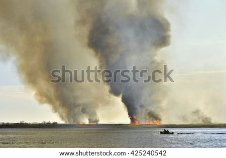 Smoke cloud from the large fire. Burning reed near the lake  - stock photo