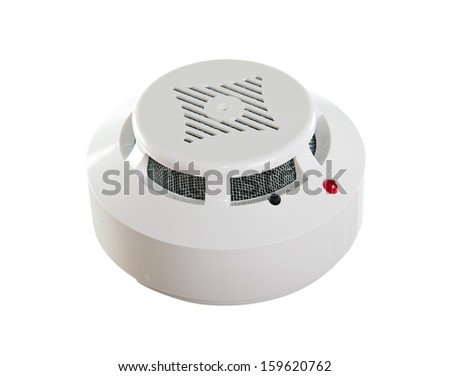 Smoke detector. Isolated on white background - stock photo