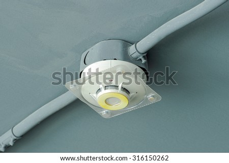 Smoke detectors on ceiling. - stock photo