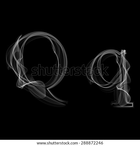Smoke font. Letter Q. Raster illustration alphabet - stock photo