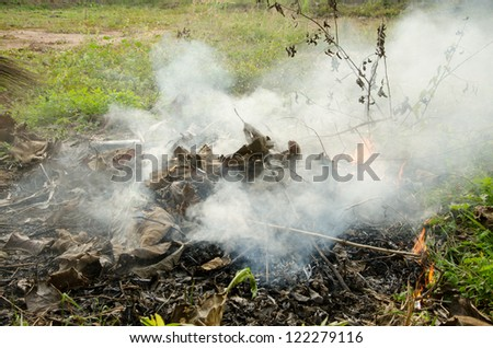Smoke from the fire. - stock photo