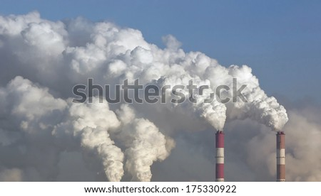 Smoke from the pipes of heat station during the extremely low temperatures - Moscow