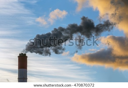Smoke from the pipes of heat station - Moscow, Russia.