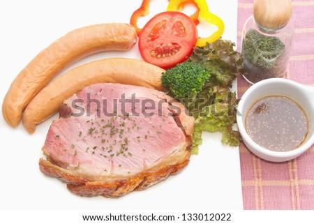 smoke ham steak on the white bowl - stock photo