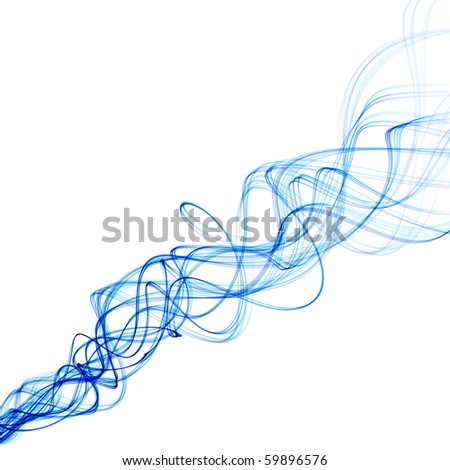 Smoke like blue wavy lines on a white background - stock photo