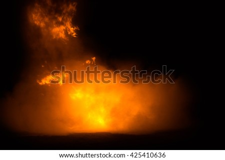 Smoke of Burning oil and Burning gas tank