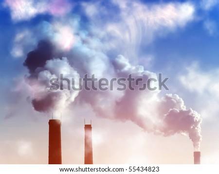 Smoke  pipes  factory sunset - stock photo