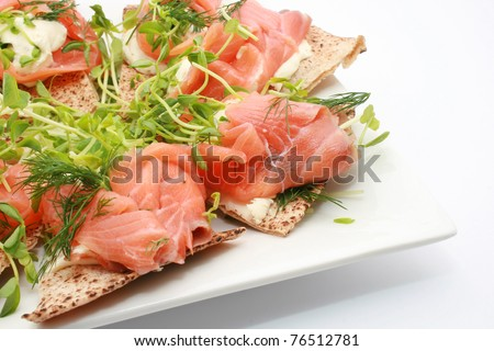 Smoke Salmon with sour cream and flat bread