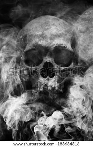 Smoke skull - stock photo