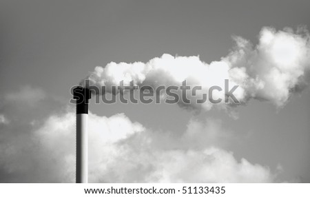 Smoke stack background black and white - stock photo