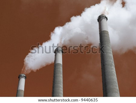 Smoke Stacks spewing Vapor into the Air