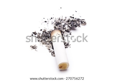 smoked a cigarette on a white background - stock photo