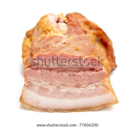 Smoked bacon chunk isolated over white background. - stock photo