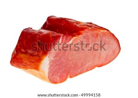Smoked bacon closeup isolated over white background.