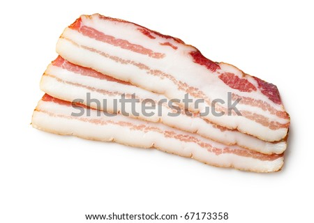 smoked bacon isolated on white background - stock photo
