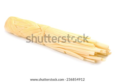 Smoked braided cheese isolated on white