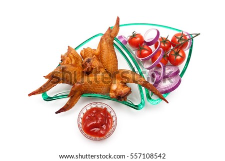 smoked chicken wings and cherry tomatoes on a white background. horizontal pictures - top view.