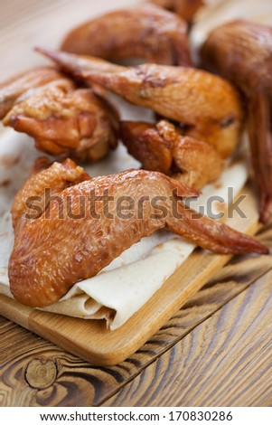 Smoked chicken wings, close-up, vertical shot